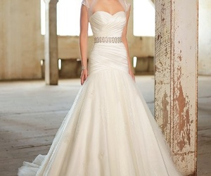wedding dress, white dress, and satin wedding dress image
