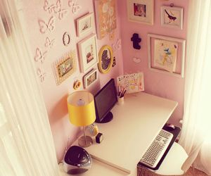 desk, room, and cute image