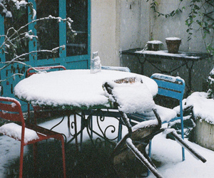 snow, winter, and chair image