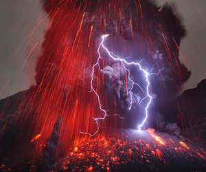 volcano, nature, and lightning image
