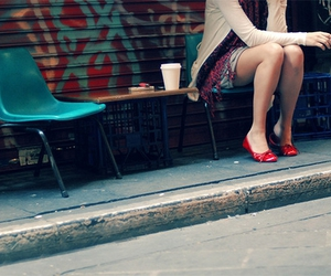 girl, red, and street image