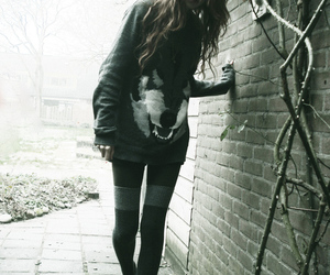 girl, wolf, and skinny image