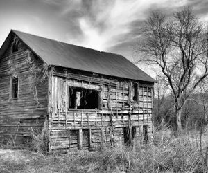 black and white, cottage, and old house image