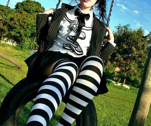 girl, stripes, and tie image