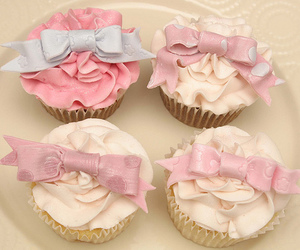 cupcake, bow, and pink image