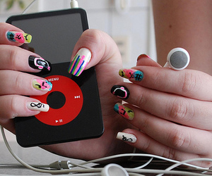 music, nails, and ipod image