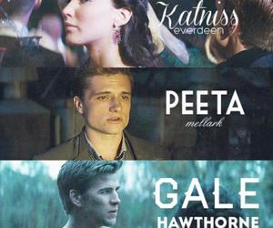 peeta mellark, katniss everdeen, and gale hawthorne image