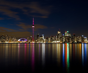 CN tower, night, and skyline image