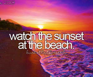 beach, sunset, and bucket list image