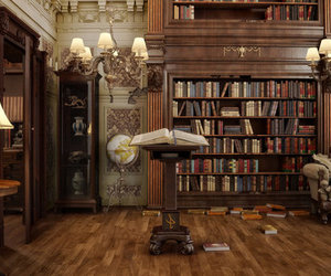 books, interior, and victorian house image