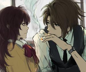 anime, couple, and smoke image
