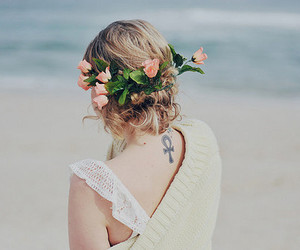 girl, flowers, and tattoo image