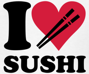 sushi, heart, and love image