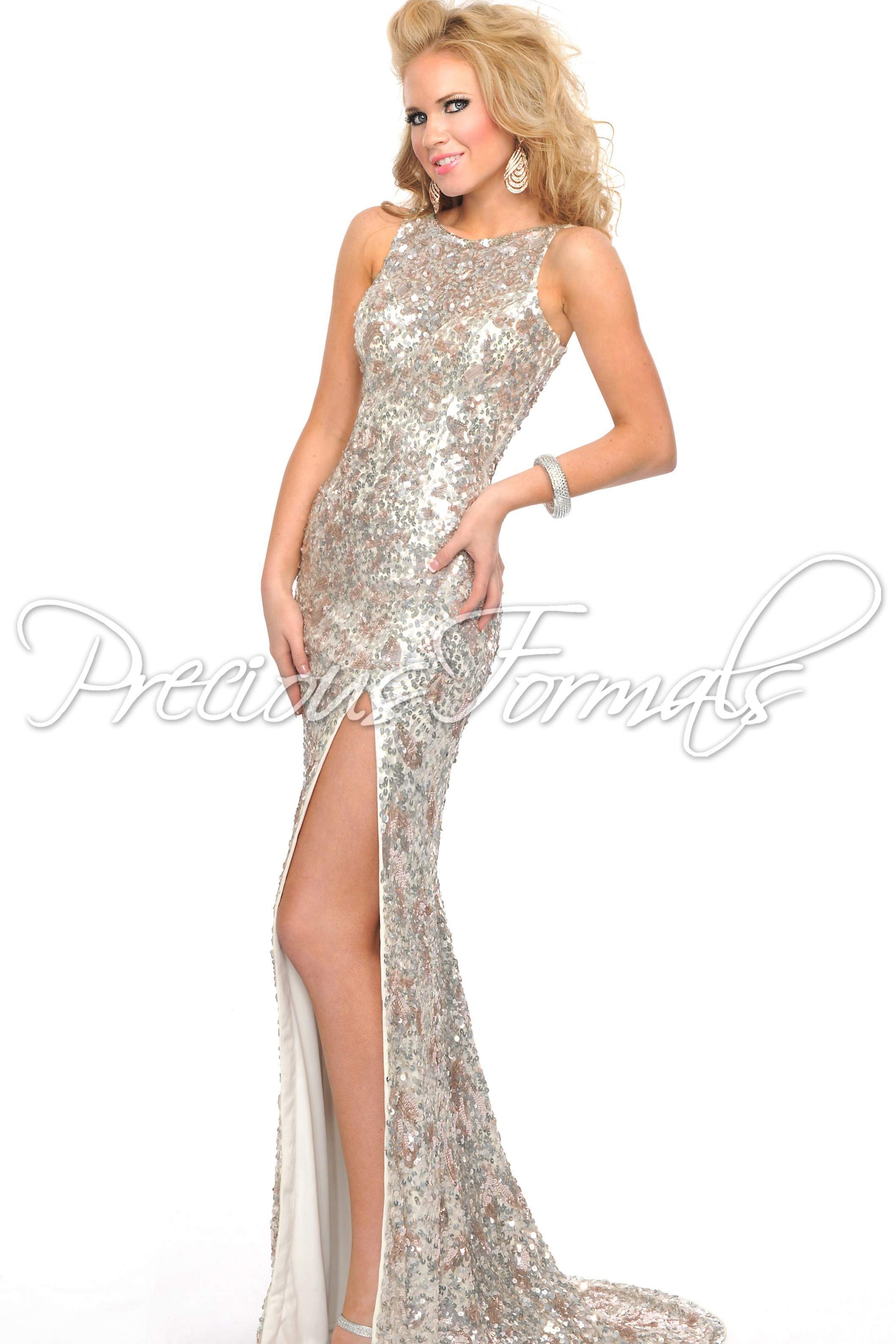 Precious Formals L8916 - Ivory Sequin Illusion Evening Gown Dress ...