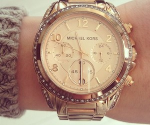 clock, fashion, and gold jewelry image