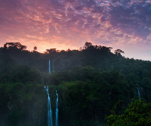 waterfall, sky, and nature image
