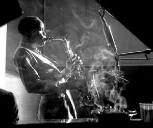 jazz, black and white, and saxophone image