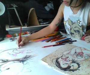 art, artist, and colored pencils image