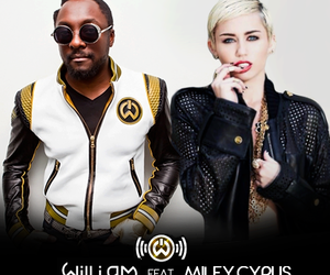 miley cyrus, will.i.am, and black and white image
