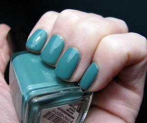 nail polish, nails, and teal image
