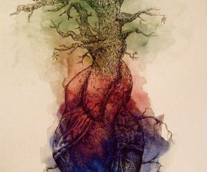 heart, tree, and art image