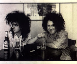 the cure, black and white, and robert smith image