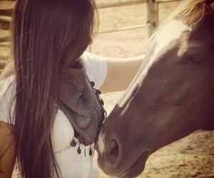 girl, horse, and brunette image
