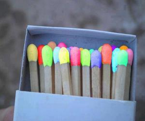 colorful, fire, and match image