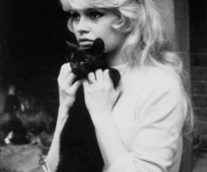brigitte bardot, cat, and black and white image