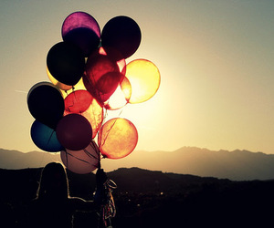 balloons, sun, and sunset image