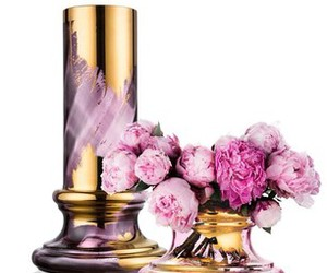 flowers, gold, and vase image