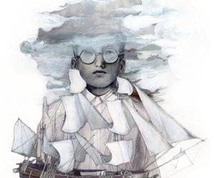 boat, sea, and boy image