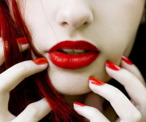 red, lips, and nails image
