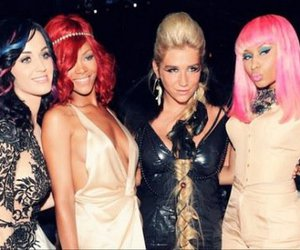 rihanna, katy perry, and nicki minaj image