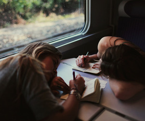 girl, friends, and train image