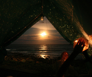 beach, sunset, and tent image