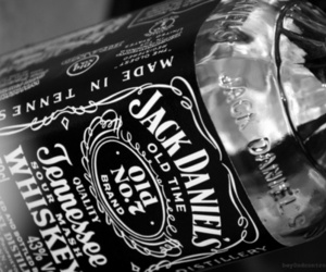 drink, jack daniels, and black and white image