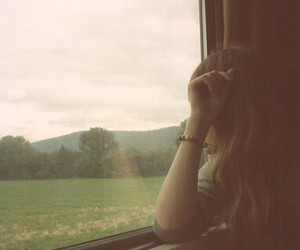 girl, train, and alone image