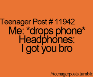 phone, headphones, and teenager post image