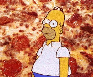 pizza, homer, and simpsons image