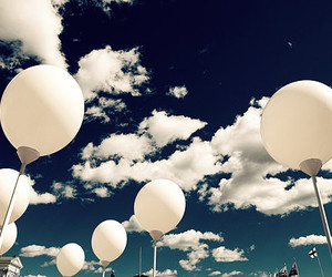 sky, clouds, and balloons image