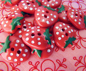 buttons, pink, and strawberry image