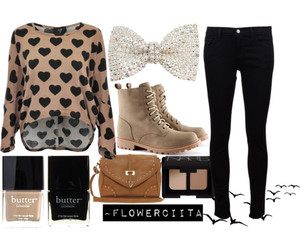 black, hearts, and Polyvore image