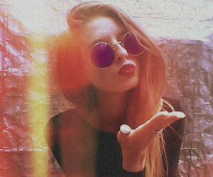 blonde, hipster, and red lips image