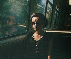 girl, train, and vintage image