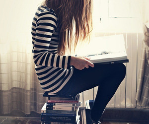 book, girl, and converse image