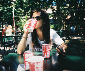 girl, coca cola, and vintage image