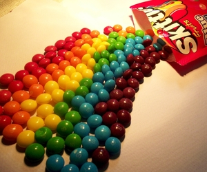 colours, rainbow, and skittles image