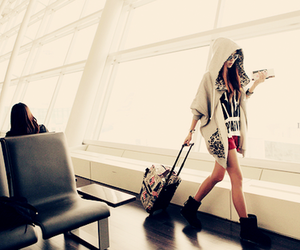 girl, fashion, and airport image