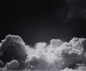clouds, sky, and black and white image